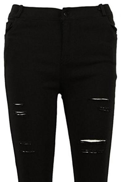 High Waist Woman Knee Skinny Pencil Pants Denim Ripped Boyfriend Jeans