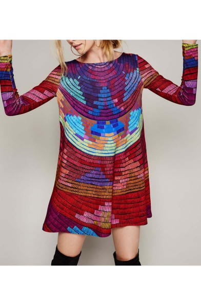 New Rainbow Striped Color Block Scoop-Back Long Sleeve Midi Swing Dress