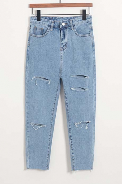 Oversized Leisure Broken High Waist Cropped Jeans