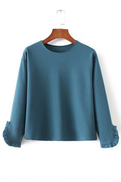 Round Neck Ruffle Cuff Pullover Plain Loose Blouse
