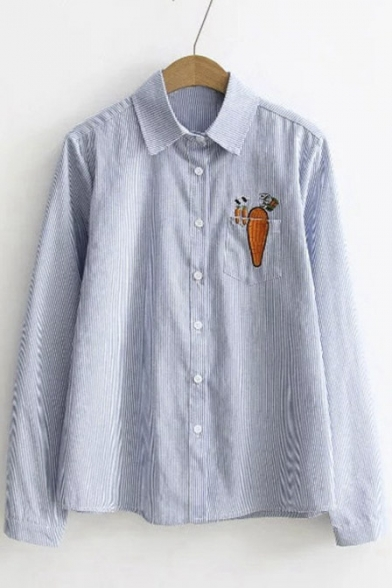 Striped Plain Embroidery Pocket Rabbit Carrot Single Breasted ...