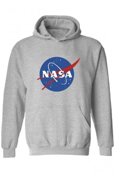 Unisex NASA Logo Print Hooded Long Sleeve Hoodie