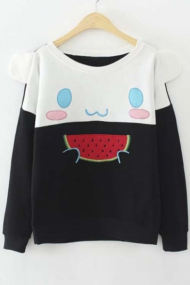 Cute Eating Watermelon Bear Color Block Pullover Sweatshirt