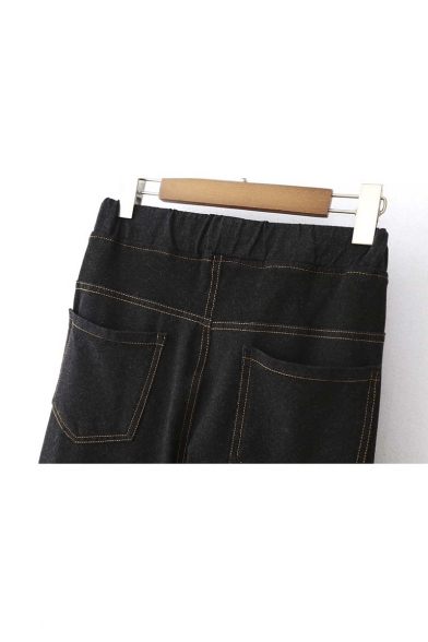 Drawstring Waist Contrast Stitching Patched Jeans