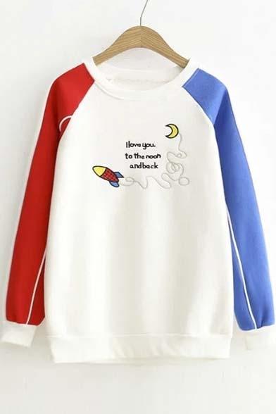 Preppy Style Contrast Raglan Long Sleeve Embroidery Letter Pattern Pullover Sweatshirt