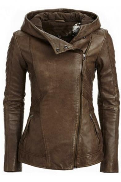 Hooded Women Solid Color Sleeve Retro Stylish Jacket Leather Long XqxwSCnnRd