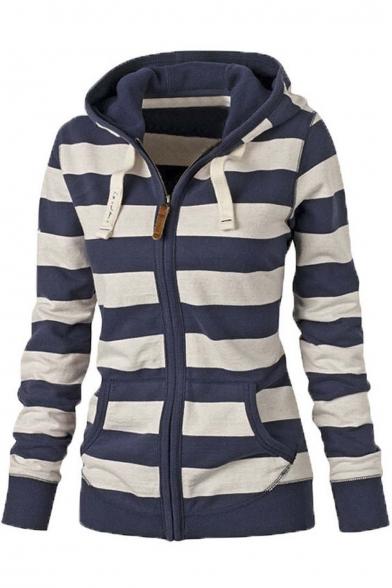 Women Plain Zipper Hoodie Striped Hooded Jacket