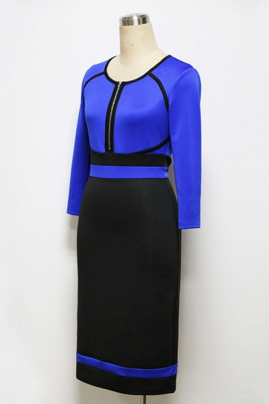Women's Vintage Color Block Career Pencil Dress