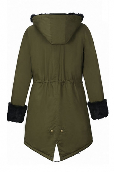 Women Winter Warm Thick Faux Fur Coat Outdoor Hood Parka Long ...