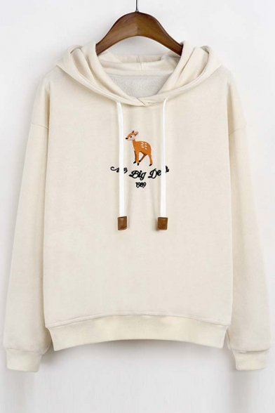 2016 New Style No Big Deal Deer Embroidery Hoodie