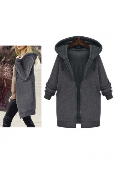 Fashion Hooded 3/4 Zipper Placket Elastic Cuffs Tunic Coat