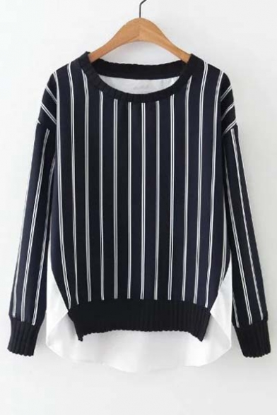 New Arrival Chic Vertical Stripes Patchwork Round Neck Dip Hem Blouse