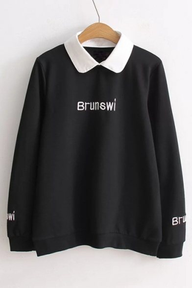 Popular Contrast Collar Letter Embroidery Long Sleeve Sweatshirt