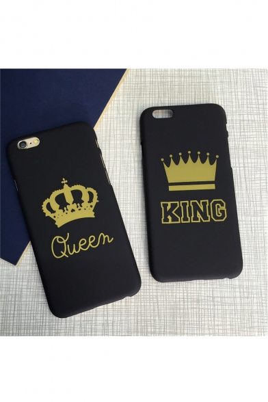 Trendy 5S/6/6S KING/Queen Crown Print Hard Mobile Phone Case