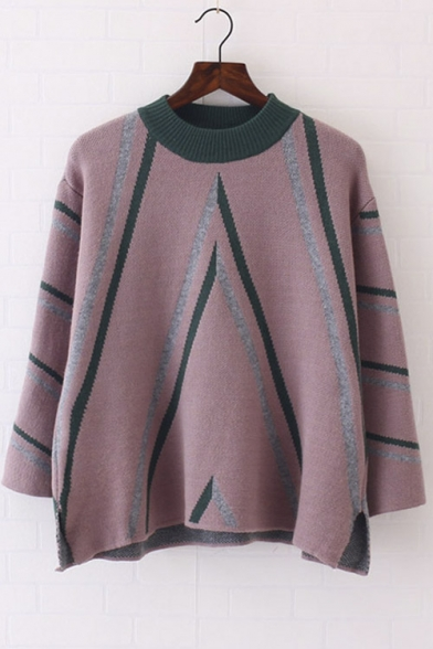 Vintage Stripe Crochet Cape Style Pullover Knit Womens Sweater