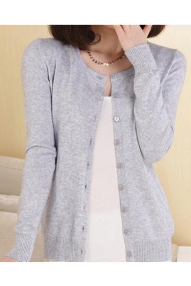 564fa66a3 Women Button Down Long Sleeve Basic Soft Knit Cardigan Sweater ...