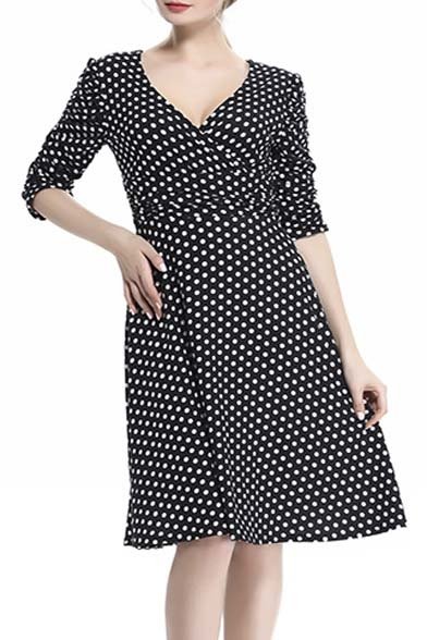 Women's 3/4 Sleeve Dress Ruched Waist Classy V-Neck Casual Cocktail Dress