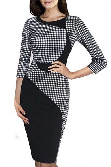 Stretch Work Wear Dress Colorblock Pencil to Elegant Women's Business nURwpYH1wq
