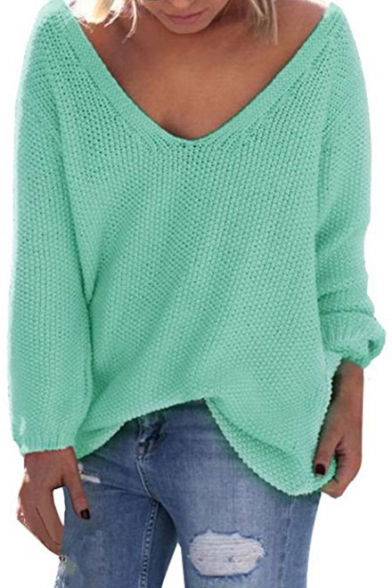 11773e2b99 Women s V Neck Solid Color Loose Pullover Thin Sweater - Beautifulhalo.com