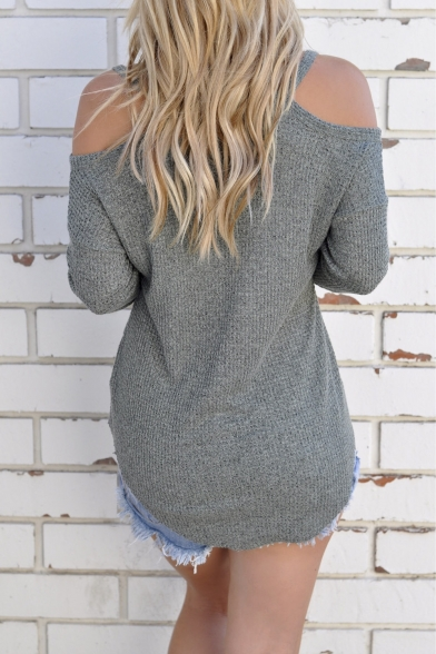 Knitted Loose Top Shoulder Open Blouse Sweater Cold Womens fgqRSS