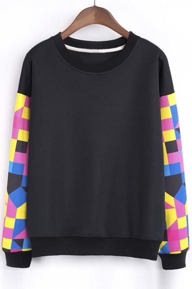 Fashion Geo Print Long Sleeve Round Neck Pullover Sweatshirt