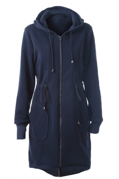 Hooded Zipper Placket Drawstring Waist Elastic Cuffs Coat with Long Sleeve