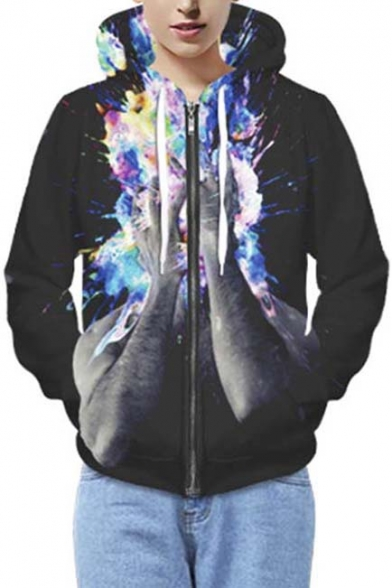 Unisex Casual 3D Colorful Person Print Zip Up Hoodie with Long Sleeve