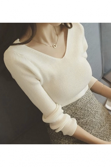 Womens Long Sleeve Deep V-Neck & Round Neck Ribbed Knit Sweater