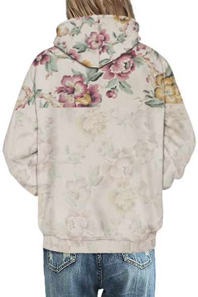 Fashion Unisex Hooded Rose Floral 3D Print Long Sleeve Hoodie