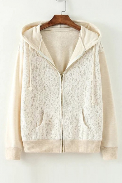 Lace Floral Pattern Hooded Elastic Trim Zipper Placket Coat