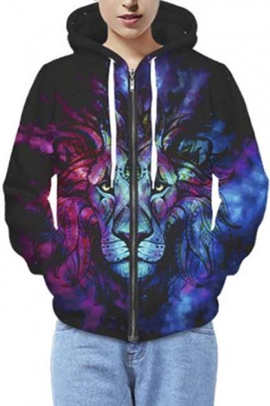 Lion King Print Hooded Long Sleeve Zip Up Couple Hoodie