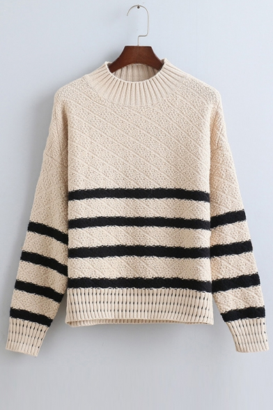 Stylish Striped Round Neck Long Sleeve Pullover Sweater