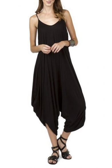 Summer New Style V-Neck Spaghetti Straps Loose Wide Leg Jumpsuits