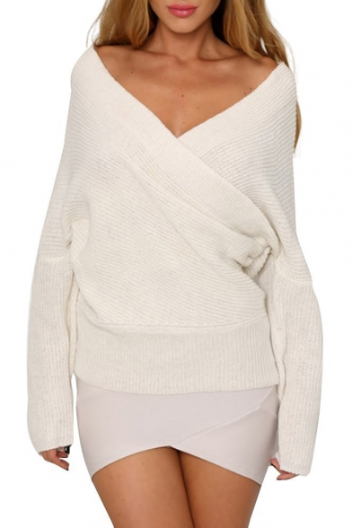 Womens V Neck Off Shoulder Knitted Wrap Sweater Pullover