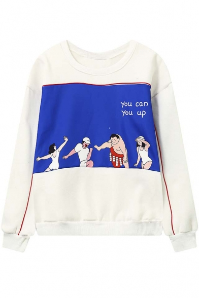 Loose Cartoon Panel Long Sleeve Pullover Sweatshirt with Round Neck