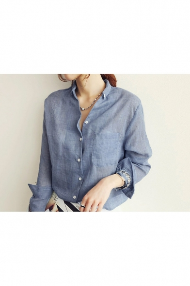Oversize Loose Linen Long Sleeve Women Shirt