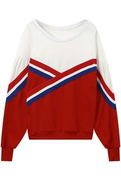 Oversized Cross Striped Color Block Panel Dropped Long Sleeve Pullover Sweatshirt
