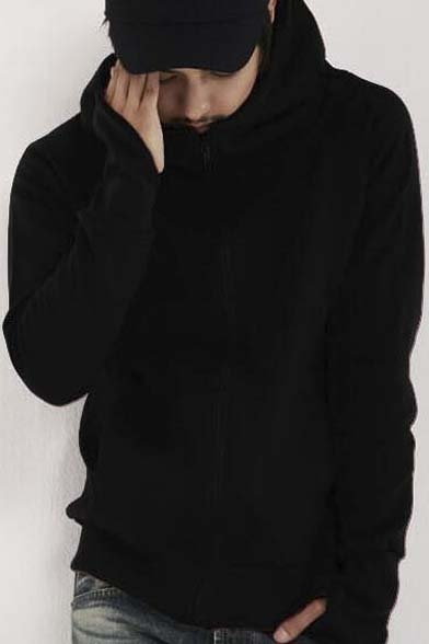 Popular Placket Raglan Hooded Long Zipper Coat Sleeve Hoodie r4BHUr