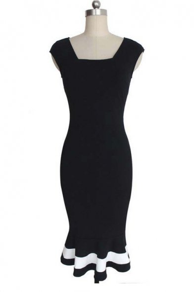 Women's Vintage Midi Sheath Business Causal Office Party Wiggle Dress