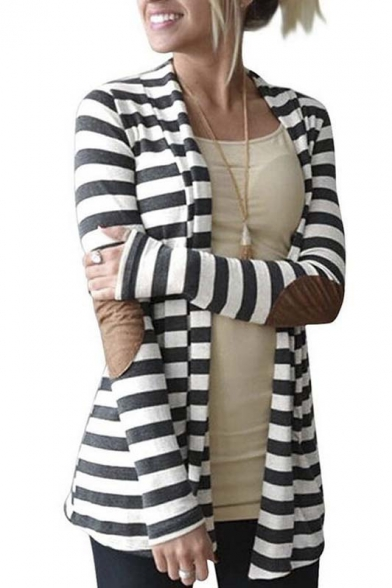 Fashion Striped Color Block Elbow Patch Long Sleeve Coat
