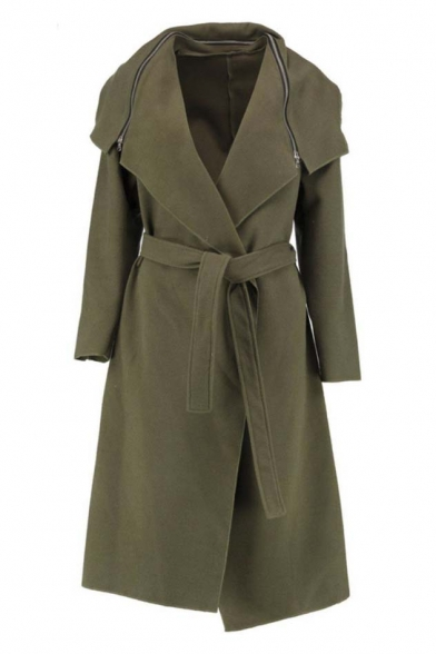 Oversized Lapel Neck with Zip Belt Waist Open-Front Tunic Coat