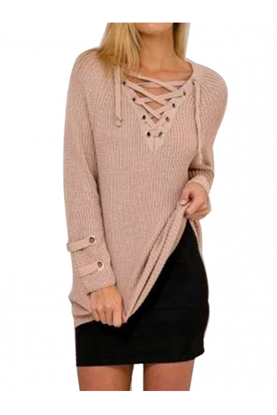 ... Women s Lace Up Front V Neck Long Sleeve Knit Sweater Dress Top ... 6a7bb0a20