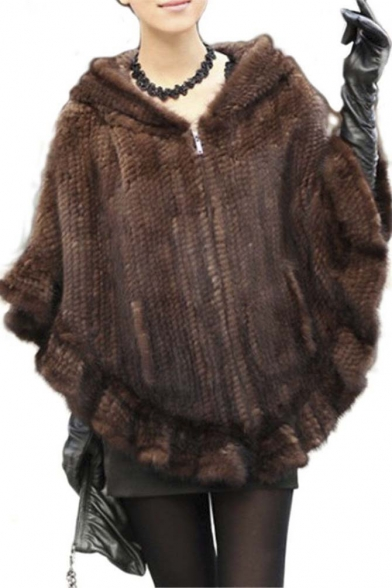 Women's Real Mink Fur Zipper Cape Cloak Poncho Shawl With Hooded