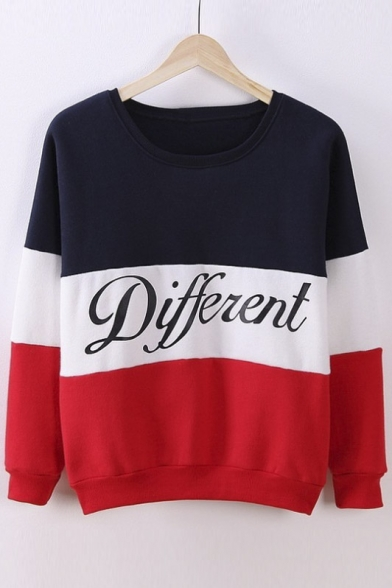 Printed Cute Color Mix Pullover Hoodies Sweater Diffferent Letters XXqHr