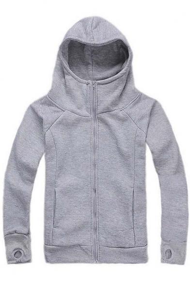 Popular Hooded Zipper Placket Raglan Long Sleeve Hoodie Coat