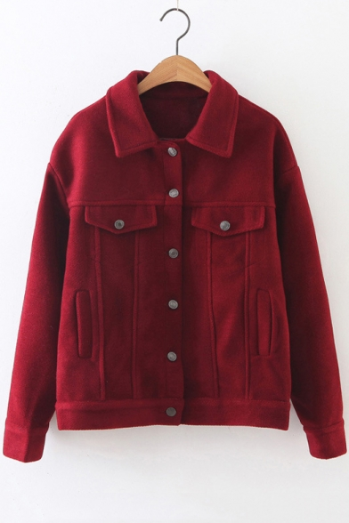 Solid Button Down Lapel Long Sleeve Woolen Jacket with Pockets