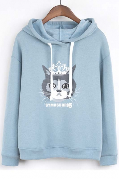 Cute Preppy Style Cat Print Hooded Dropped Long Sleeve Hoodie