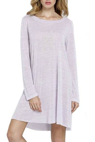 Long Sleeve V-Back Round Neck Solid Color Fitted T-Shirt Dress