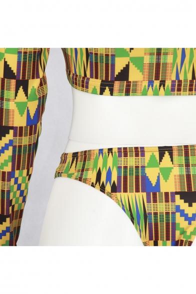 Printed Long Sleeve Round Neck Skinny Top Two-Piece Swimwear