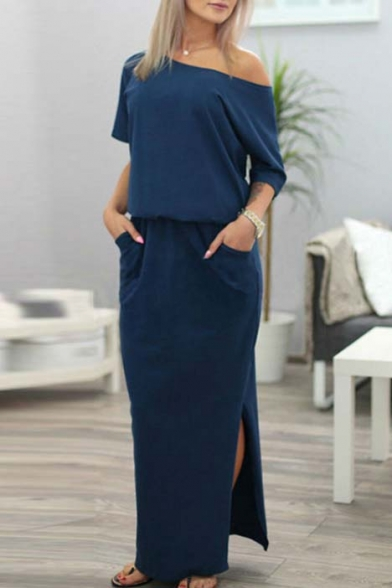 Sexy Inclined Shoulder Half Sleeve Split Side Maxi Dress with Two Pockets
